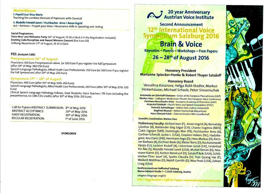2nd announce Voice symposium, Salzburg austria 08.2016